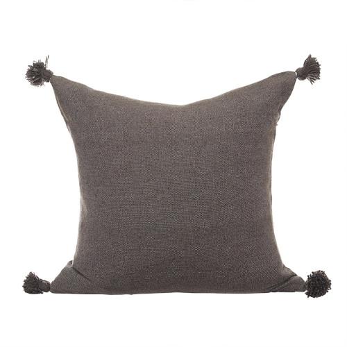 Dark Taupe Pom Pom Pillow