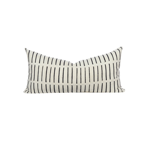 Laline White and Black Mud Cloth Lumbar Pillow - Front