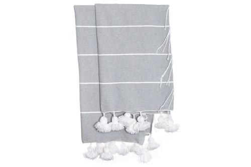 Beach House Coverlet - Gray White Stripe Pom Pom Blanket