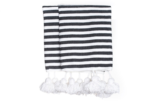 Cabana Stripe Pom Pom Throw in Black and White