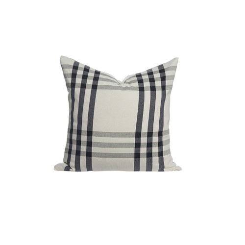Square Hand Loomed Black and White Plaid Pillow Front