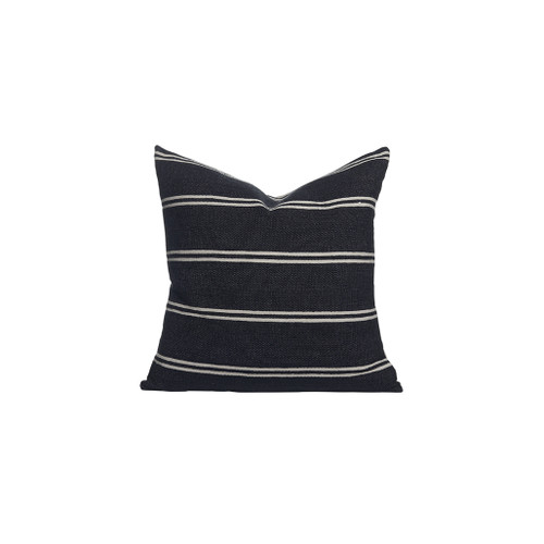 Capri Hand Loomed Stripe Pillow Front - Black