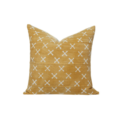 Scattered Flowers Yellow Mud Cloth Pillow Front