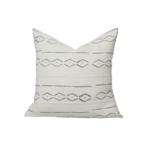 Martin White Mud Cloth Pillow - Front