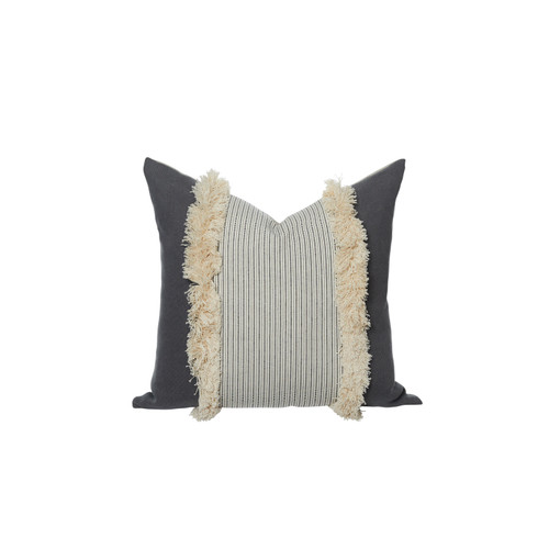 Tera Linen Fringe Pillow - 20X20 Front