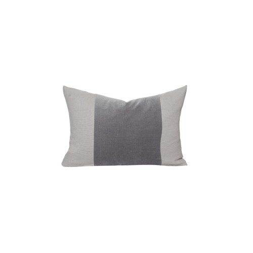 Aden gray moonstone velvet lumbar pillow - front