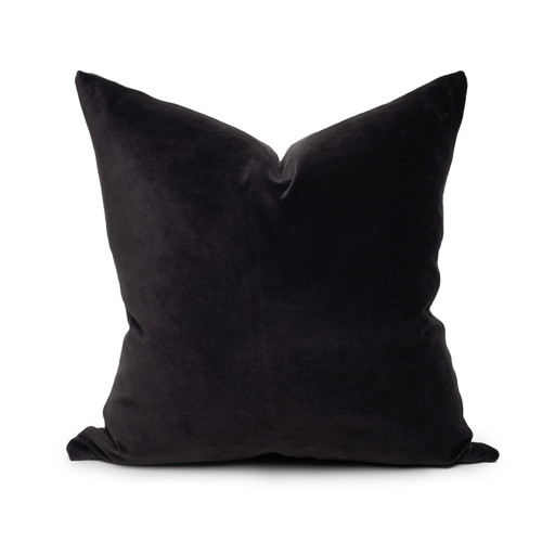 Sophie dark gray shungite cotton velvet decorative pillow - 20 -Front
