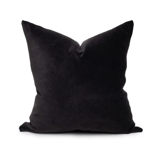 Sophie dark gray shungite cotton velvet decorative pillow - 20 -Front