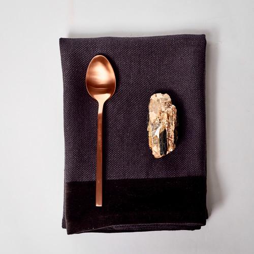 Alexis Carbon Gray Linen and Velvet Napkin - Shungite