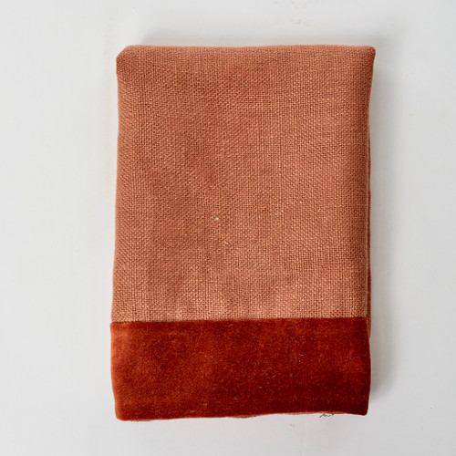 Alexis Napkin Red Jasper Linen and Velvet - Product