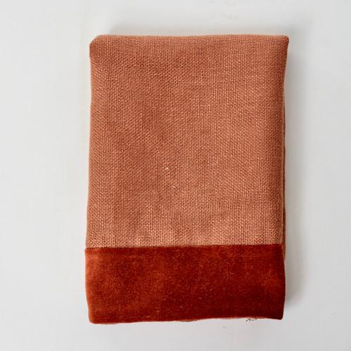 Alexis Napkin Red Jasper Linen and Velvet - Product
