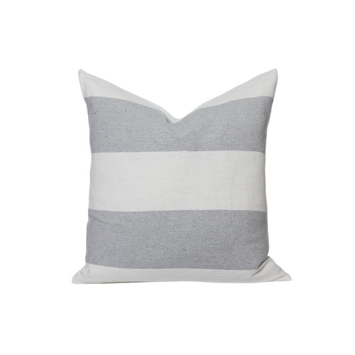 Salt Pillow Gray and White Woven stripe - Front