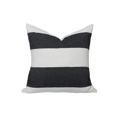 Salt Pillow Black and White Woven Stripe - Front
