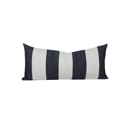 Navy and White Salt Stripe  16 x 36 Decorative Lumbar - Front