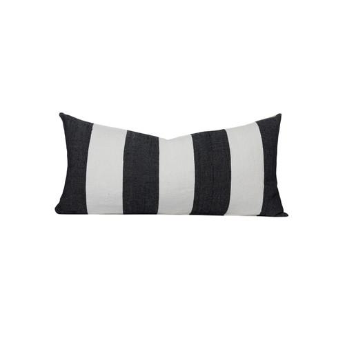Navy and White Salt Stripe  16 x 36 Decorative Lumbar - Front