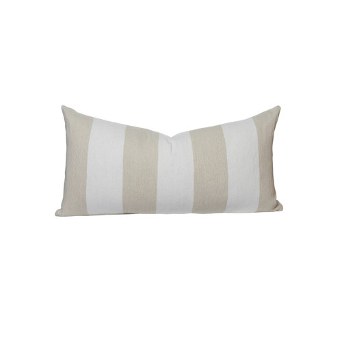 Taupe and White Salt Stripe 16 x 36 Decorative Lumbar - Front