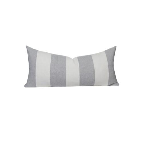 Gray and White Salt Stripe 16 x 36 Decorative Lumbar - Front