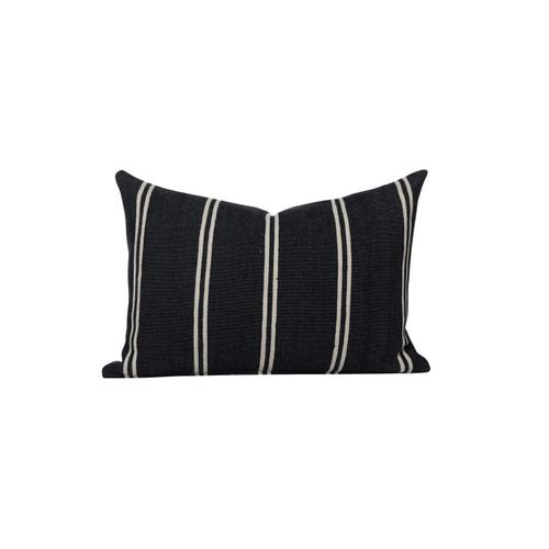 Capri Black and White Cotton Stripe Moroccan Decorative Lumbar Pillow - front