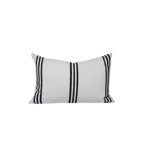 Three Stripe White and Black Cotton Stripe Moroccan Decorative Lumbar Pillow - front