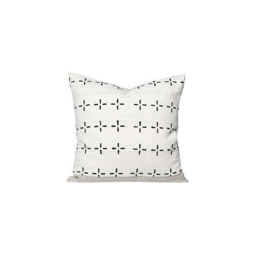 Star White and Black Mud Cloth Pillow - Front