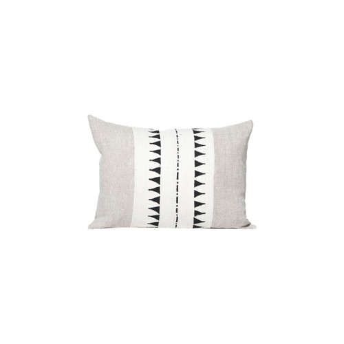 Trace White and Black Mud Cloth Pillow - Front
