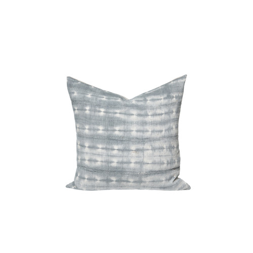 Zephyr Gray and Ivory Mud Cloth Tie Dyed Pillow - Front