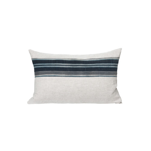 Roya Black and Ivory Mud Cloth Tie Dyed Pillow - Front