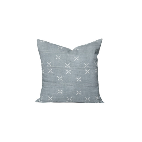 Drea Pillow - French Blue and  Ivory Mud Cloth Batik Pillow - Front