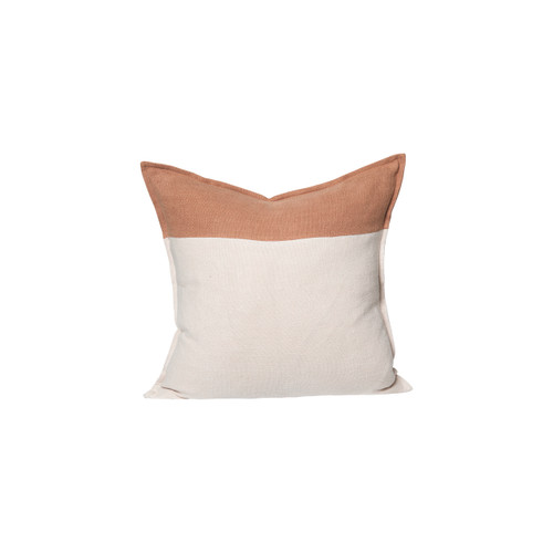 Ridge Linen Pillow 22 in Creme Brulee and Sunstone Linen - Front