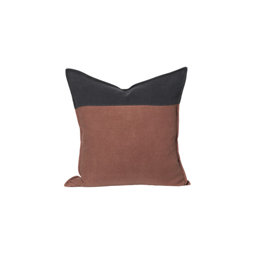 Ridge Linen Pillow 22 in Carbon and Bark Linen - Front