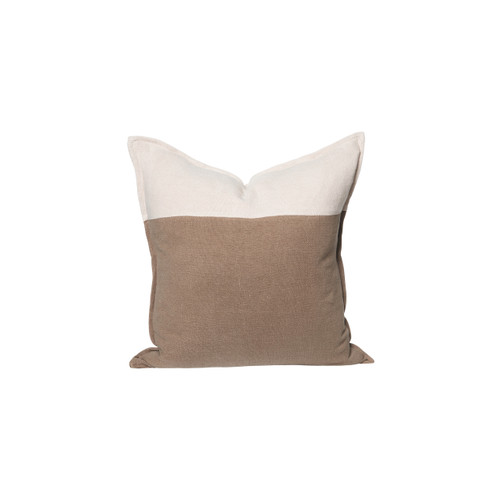 Ridge Linen Pillow 22 in Creme Brulee and Taupe - Front