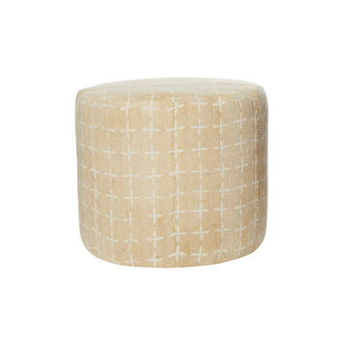 Aline Straw Mud Cloth Pouf