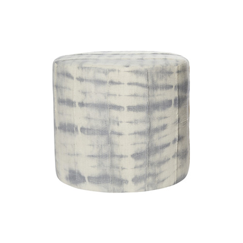 Kushi Gray Tie Dye Mud Cloth Pouf - Front