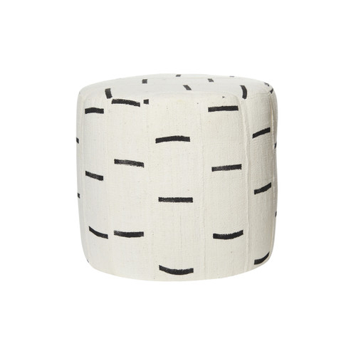 Dria White and Black Mud Cloth Pouf - Front