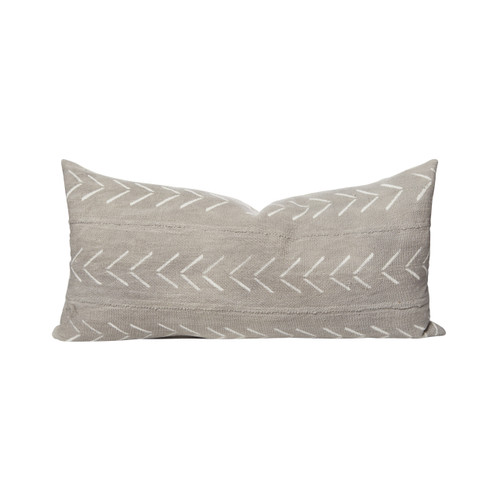 Ace Gray Arrow Mud Cloth Lumbar Pillow 14 x27 - Front