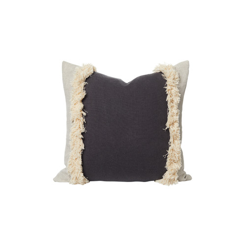 Muse Linen Pillow Carbon White - Front