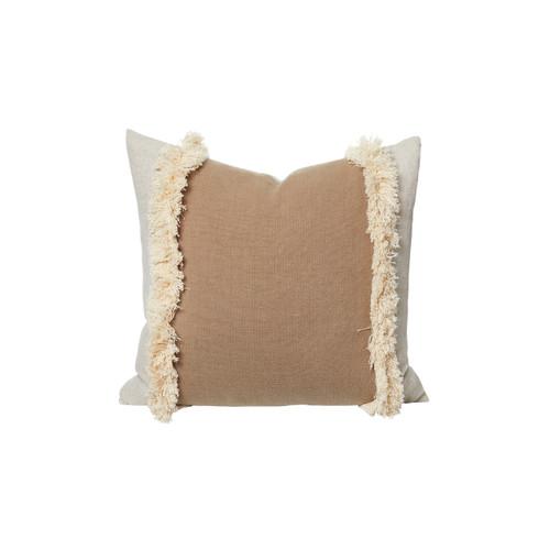 Muse Fringe Linen Pillow Stone - Front