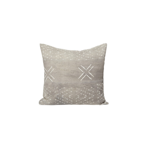 Arti Gray Mud Cloth Lumbar Pillow 18 x 18 - Front