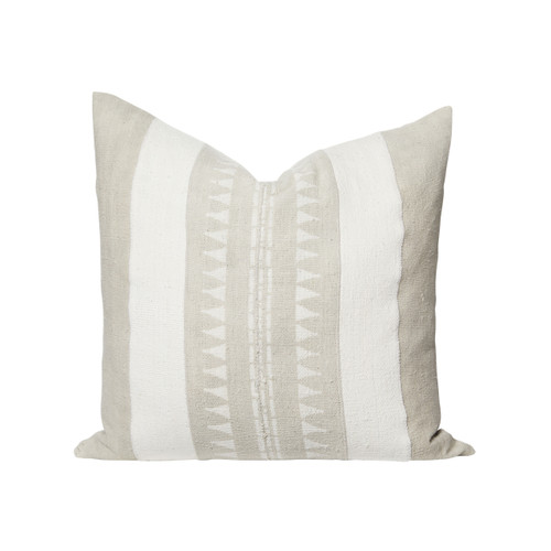 Cali Natural Linen and Ivory Mud Cloth Pillow - Front
