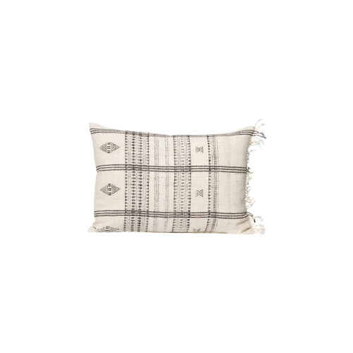 Kai - Ivory and Taupe Hand Loomed wool Indian stripe pillow - Front