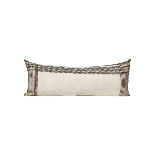 Luca - Ivory and Taupe Hand Loomed wool Indian stripe lumbar bed pillow - Front