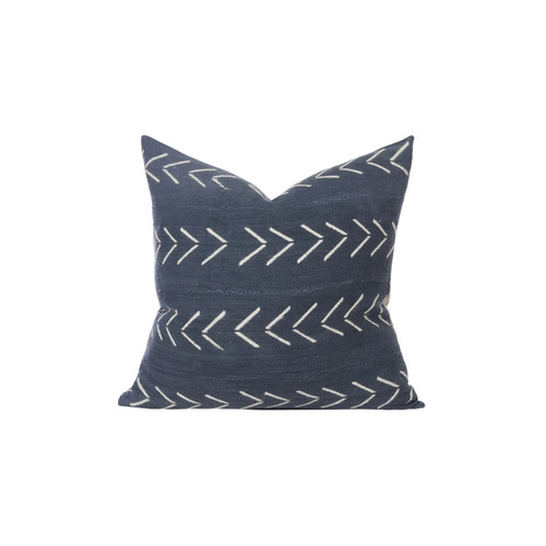 Harper Ink Blue and Ivory Mud cloth pillow - Front