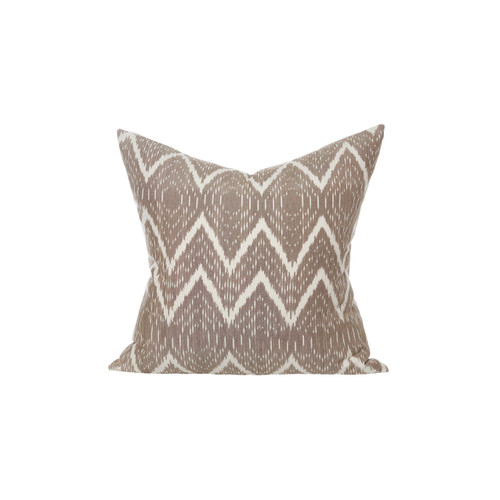 Hand Loomed Ikat natural and ivory decorative pillow - Front