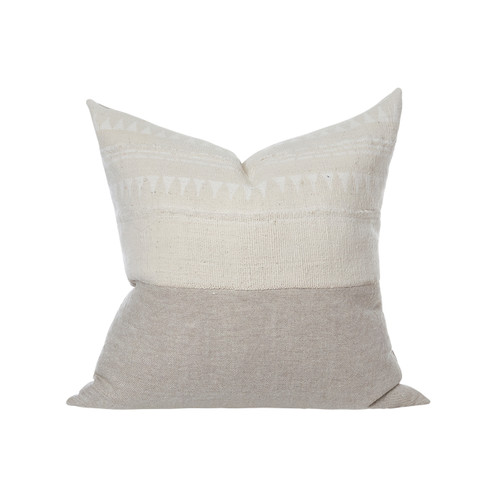 Carol Ivory Mud cloth arrow pillow - Front