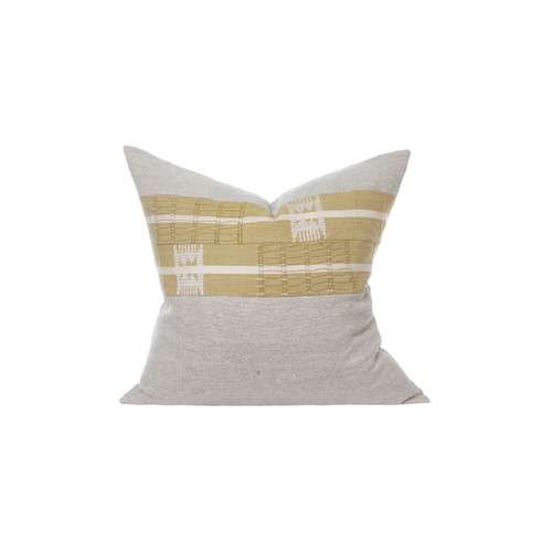 Ollie Aso Oke Eco Linen Taupe Stripe Pillow - Front