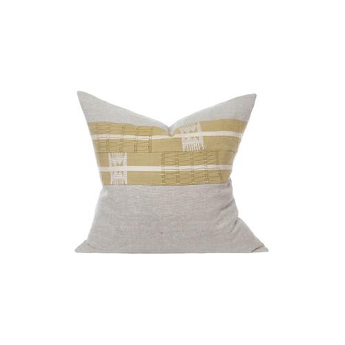 Ollie Aso Oke Eco Linen Taupe Stripe Pillow - Front