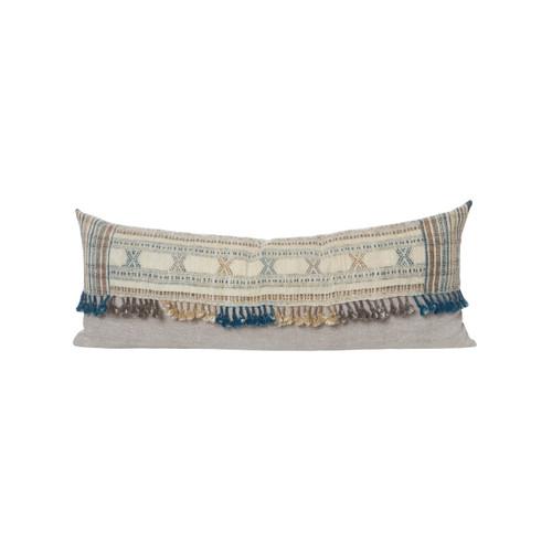 Nikki Indian Wool Tassel Lumbar Pillow - Front