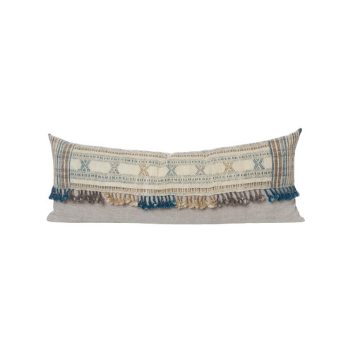 Nikki Indian Wool Tassel Lumbar Pillow - Front