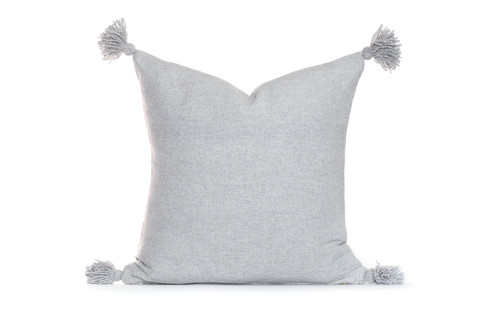 Frenchie 26 Handloom Moroccan Tassel Pillow - Gray- Gris Clare- Front