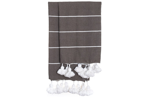 Beach House Dark Taupe and White Cotton Moroccan Pom Pom Throw